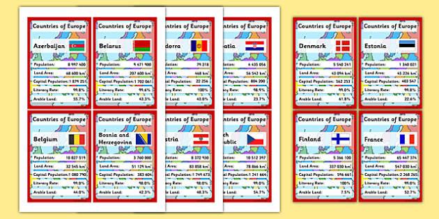 European Countries Card Game - cards, countries
