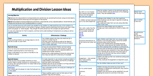 KS1 Multiplication and Division Lesson Ideas multiplication – Division Worksheets Ks1