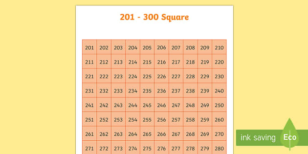 201-300 Square - number square, hundred square, number, numbers, square, count, 201-300