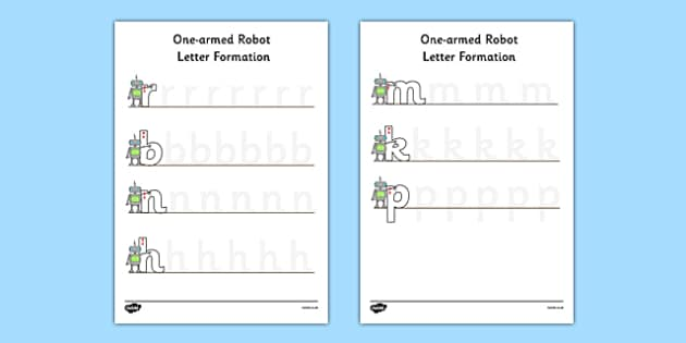 One Armed Robot Letter Formation Activity Sheet - one armed robot, letter formation, worksheet