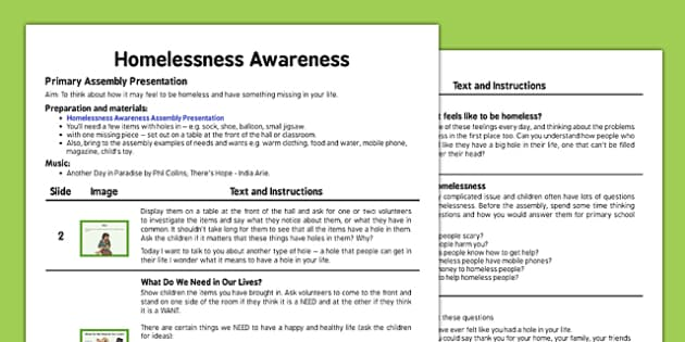 Homelessness Awareness Assembly Script - homelessness, awareness, assembly, script