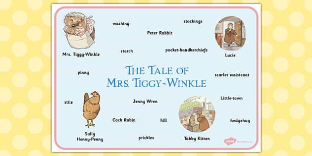 The Tale of Mrs Tiggy Winkle Word Mat - mrs tiggy winkle, word mat