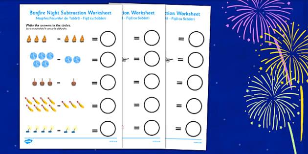 Bonfire Night Fireworks Subtraction Sheet Romanian Translation - romanian