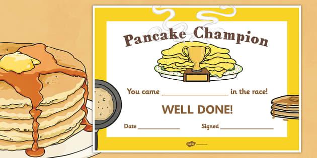 Pancake Race Certificate - awards, certificates, pancakes, races