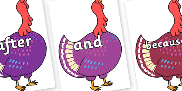 Connectives on Hullabaloo Turkey to Support Teaching on Farmyard Hullabaloo - Connectives, VCOP, connective resources, connectives display words, connective displays