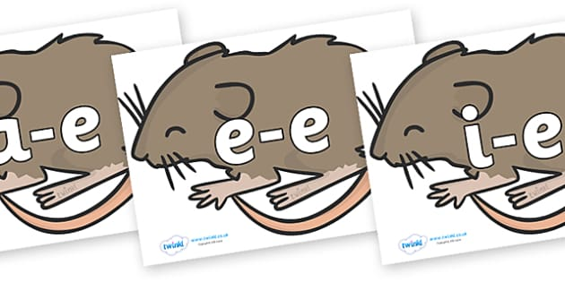 Modifying E Letters on Mice - Modifying E, letters, modify, Phase 5, Phase five, alternative spellings for phonemes, DfES letters and Sounds
