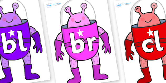 Initial Letter Blends on Alien - Initial Letters, initial letter, letter blend, letter blends, consonant, consonants, digraph, trigraph, literacy, alphabet, letters, foundation stage literacy