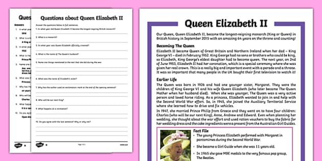 Queen Elizabeth II Upper KS2 Differentiated Reading Comprehension Activity