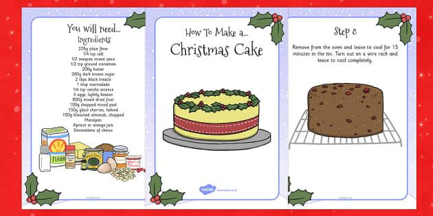 Christmas Cake Recipe Cards - christmas, cake, recipe, cards