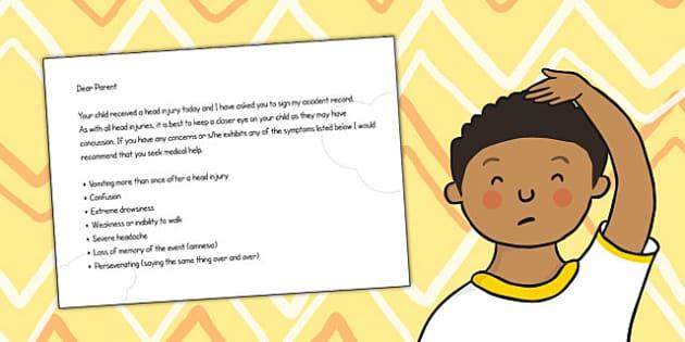 Head Injury Letter - child minder, head injury, letter, injury