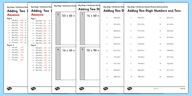 KS1 Arithmetic Content Practice Activity Sheet Pack Adding 2 Digit Numbers and 10s - Maths, KS1, Key Stage 1, Arithmetic, addition, subtraction, two-digit, tens, ones, add, subtract, worksheet