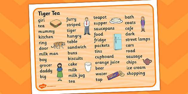 The Tiger Who Came to Tea Word Mat - tiger, tea, the tiger who cam to tea, word mat, writing aid, mat, play, Judith Kerr, girl, story book