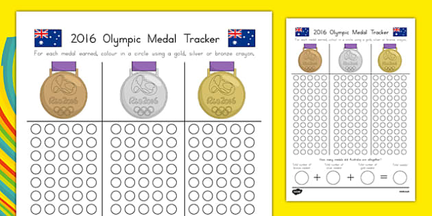 Australian Olympic Medal Count and Add Activity Sheet-Australia, worksheet