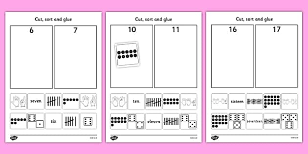 Cut and Stick Number Sort Activity Sheets - fine motor skills, maths, Count, numeral recognition, numbers to 20, number representation