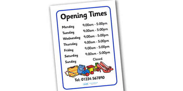 Charity Shops Opening Times Poster - charity shop, charity shop opening times, charity shop poster, charity shop display poster, shops, role play, charity