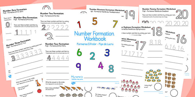 Number Formation Workbook 0-20 Romanian Translation - romanian