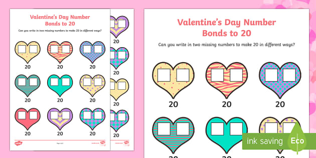 Valentine's Day Heart Number Bonds to 20 Activity Sheet - Valentine's Day,  Feb 14th, love, cupid, hearts, valentine, addition, number bonds, numbers to 20,
