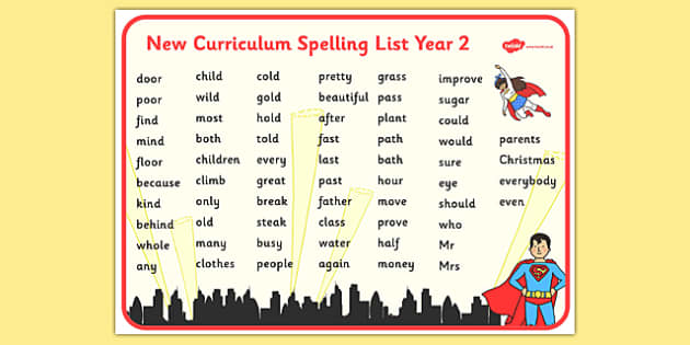 Superhero Themed Spelling List Year 2 Word Mat - superhero, themed, spelling list, spelling, spell, list, year 2, word mat