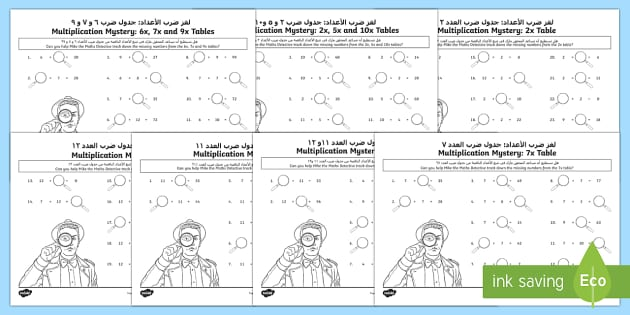 Multiplication Tables Missing Numbers Activity Sheet Arabic/English