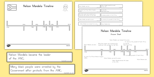 Nelson Mandela Timeline Cut and Paste Activity - usa, writing, nelson mandela, significant individual