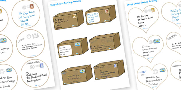 Mixed 2D and 3D Shape Parcel Sorting Activity - parcel sorting activity, 2D shape activity, 3D shape activity, sorting activity, shape sorting