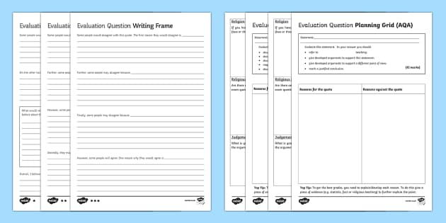 AQA RS GCSE Evaluation Question  Writing Frames Pack