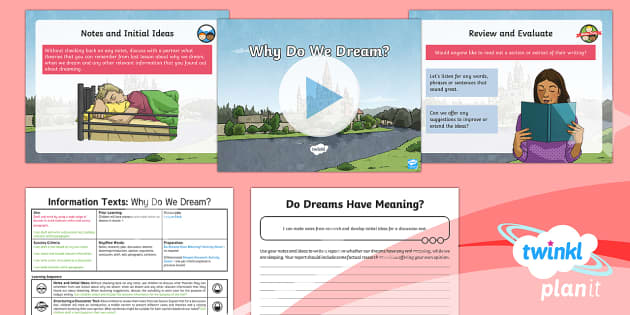 PlanIt Y6 Explorers: Dreams and Anders Arnfield Lesson Pack Information Texts (2) - dreams, discussion, cohesion, paragraphs, writing, english, literacy, planning, plans, ppt, powerpoi