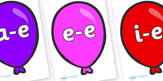 Modifying E Letters on Party Balloons - Modifying E, letters, modify, Phase 5, Phase five, alternative spellings for phonemes, DfES letters and Sounds