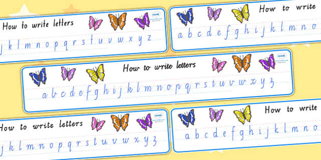 Cursive Alphabet Display Banner Butterfly - alphabet, a-z, banner