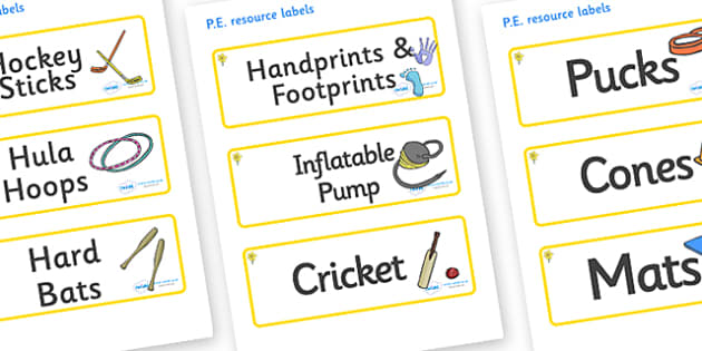 Daffodil Themed Editable PE Resource Labels - Themed PE label, PE equipment, PE, physical education, PE cupboard, PE, physical development, quoits, cones, bats, balls, Resource Label, Editable Labels, KS1 Labels, Foundation Labels, Foundation Stage L
