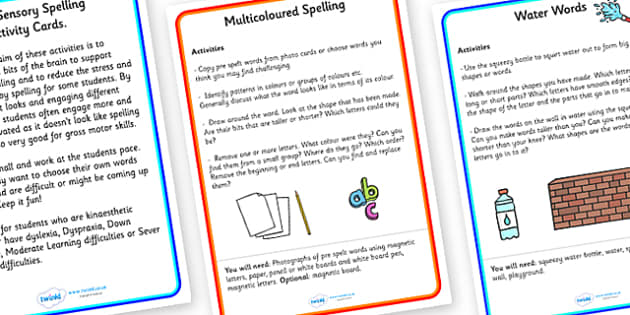Multi Sensory Spelling Activity Cards-multi-sensory, spelling activities, spelling games, spelling worksheet, word worksheet, sensory worksheet