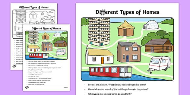 Different Types of Homes Oral Language Activity Sheet-Irish, worksheet