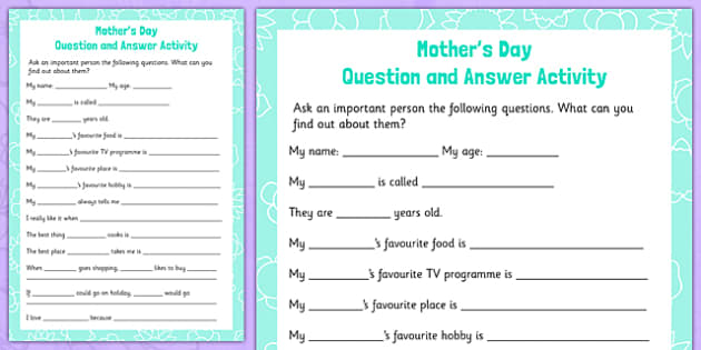 Mother's Day Question and Answer Activity - mothers day, sen, question and answer, special educational needs