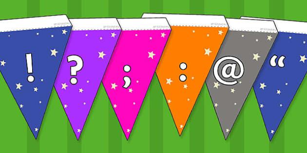 Stars Themed Symbols Bunting - stars, symbols, bunting, display