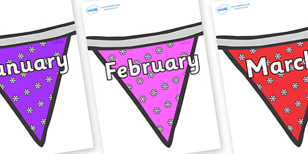 Months of the Year on Bunting (Flowers1) - Months of the Year, Months poster, Months display, display, poster, frieze, Months, month, January, February, March, April, May, June, July, August, September