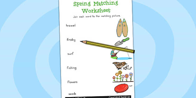 Spring Word and Picture Matching Worksheet - worksheets, match
