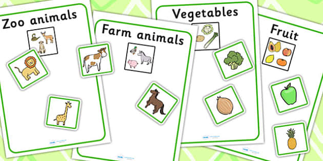 Fruit Vegetables Farm Animals And Zoo Animals Sorting Activity