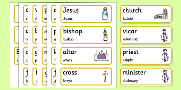 Christian Church Word Cards Polish Translation - polish, christian, church, word cards, word, cards