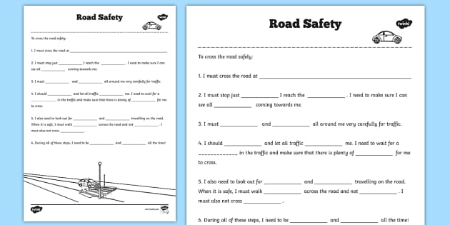 Safety Worksheets worksheets road safety road safe – Safety Worksheets