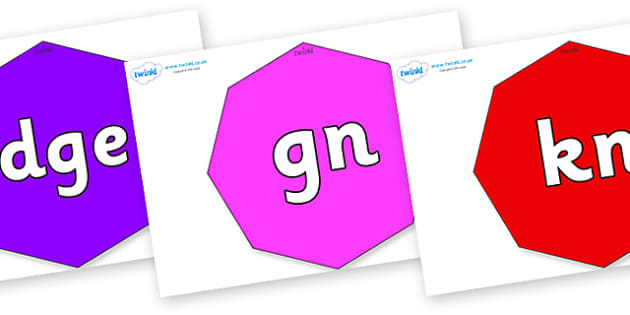 Silent Letters on Octagons - Silent Letters, silent letter, letter blend, consonant, consonants, digraph, trigraph, A-Z letters, literacy, alphabet, letters, alternative sounds
