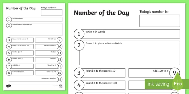 Number of the Day Activity Sheet - New Zealand Back to School
