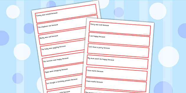Sentence Starters With Because Complete The Sentence Activity