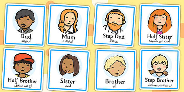 Family Members Role Play Badges Arabic Translation - arabic