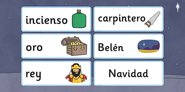 Nativity Topic Words Spanish - spanish, nativity, topic, words, christmas