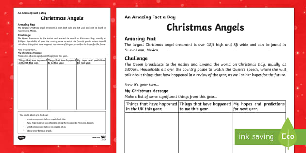 Amazing Fact a Day KS2 Countdown to Christmas Day 6 Christmas Messages Activity Sheet - Amazing Fact Of The Day, activity sheets, powerpoint, starter, morning activity, worksheet, December