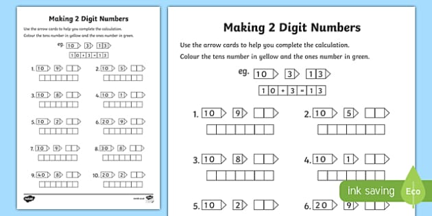 Making 2 Digit Numbers Activity Sheet - making, make, 2 digit, number, activity, worksheet