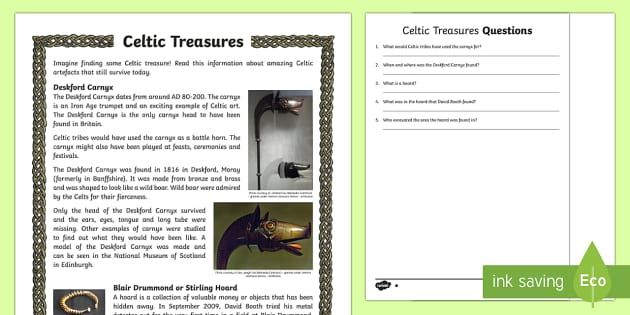 Celtic Treasures Differentiated Reading Comprehension Activity-Scottish - CfE, Celts, Celtic, Deskford Carnyx, Stirling Hoard, Blair Drummond, history, battle horn, jewellery