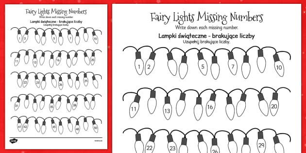 Christmas Fairy Light Missing Number Activity Sheet Polish Translation - maths, counting, KS1, key stage 1, colouring, festive, worksheet