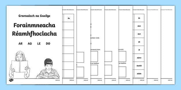 Forainmneacha Réamhfhoclacha Activity Booklet-Irish