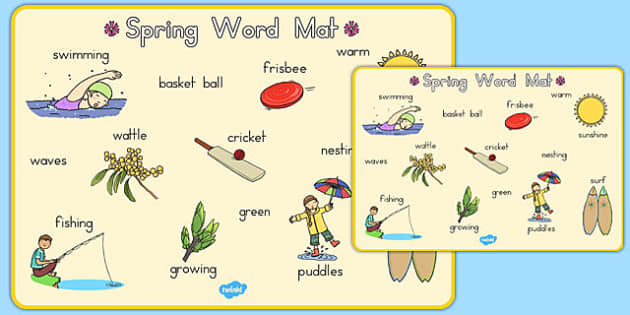Spring Word Mat - seasons, weather, spring, visual aid, keywords